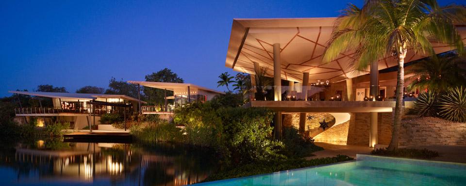 Rosewood Mayakoba reflection of resort in pool